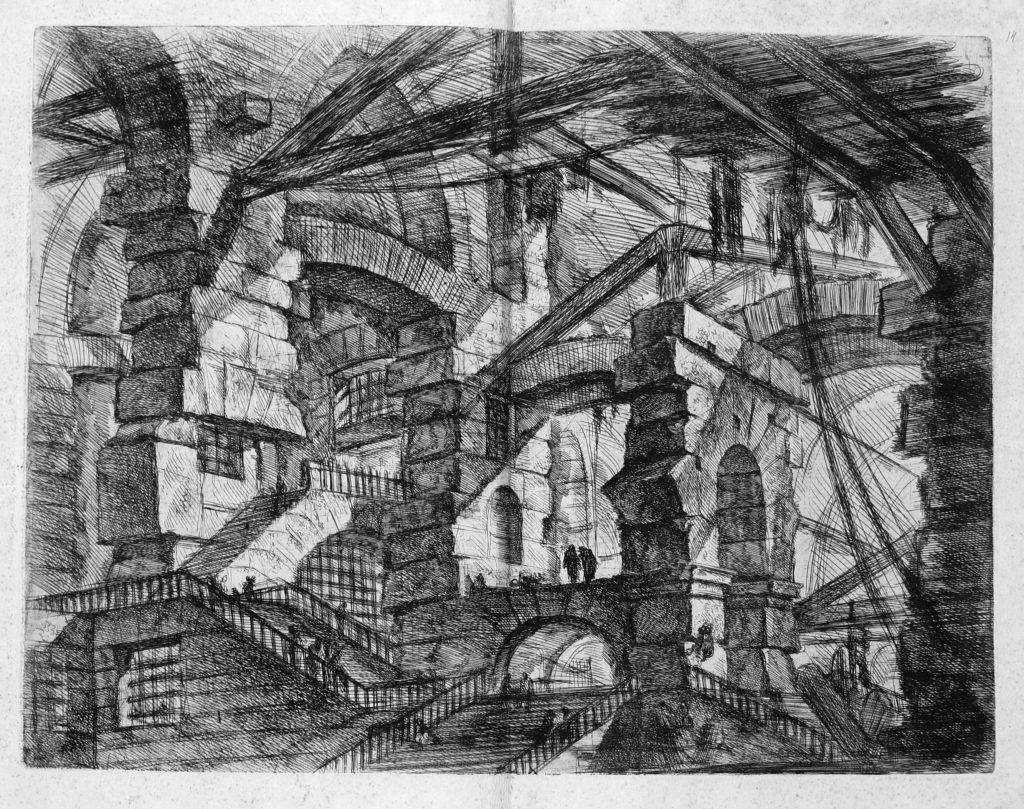 Une prison labyrinthique italienne et imaginaire, dessinée par Piranese,  où il n'est pas rare que des détenus (eux aussi Italiens et imaginaires) se perdent pour toujours.