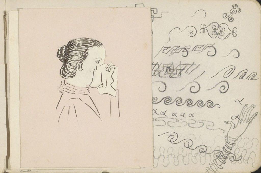 Dessin : une femme avec un chignon se mouche dans un mouchoir en tissu blanc. Œuvre conservée au Rijksmuseum.